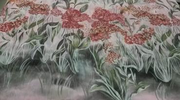 Αέρινη μουσελίνα ρόζ χρώμα με μπορντούρα λουλούδια